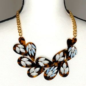 T&J Tortious Shell Bib Necklace with Rhinestones
